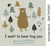 vector valentine card with cute ...