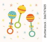 cute toy rattle set. kids first ... | Shutterstock .eps vector #366747605