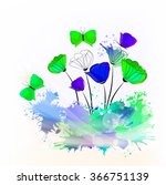 abstract flowers and... | Shutterstock .eps vector #366751139
