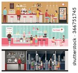 people eating and drinking in a ... | Shutterstock .eps vector #366751745