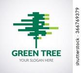 green digital tree vector logo... | Shutterstock .eps vector #366769379