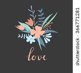 vector modern love card ... | Shutterstock .eps vector #366771281