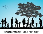 families walking in the park | Shutterstock .eps vector #366784589