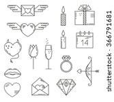 set of valentines day icons.... | Shutterstock .eps vector #366791681