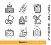 set of hospital outline web...