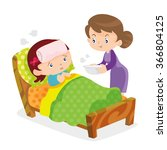 mother taking the temperature... | Shutterstock .eps vector #366804125