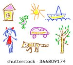 wax crayon kid s drawn girl ... | Shutterstock .eps vector #366809174