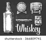 whiskey glass with ice cubes ... | Shutterstock .eps vector #366809741