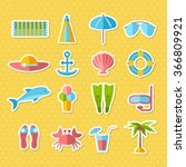 seaside holidays. flat icon set.... | Shutterstock .eps vector #366809921