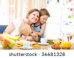 young happy mother and two kids ... | Shutterstock . vector #36681328