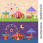 flat retro funfair scenery with ... | Shutterstock .eps vector #366831425