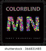 set of colorblind style font in ... | Shutterstock .eps vector #366831485