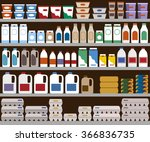 supermarket shelves with dairy... | Shutterstock .eps vector #366836735