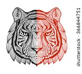 patterned tiger head one side... | Shutterstock . vector #366844751