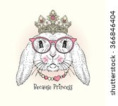 cute portrait of bunny princess ... | Shutterstock .eps vector #366846404
