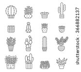 succulents and cacti outline... | Shutterstock .eps vector #366882137