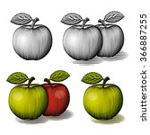 engraved green and red apple.... | Shutterstock .eps vector #366887255