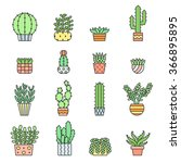 succulents and cacti outline... | Shutterstock .eps vector #366895895