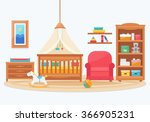 baby room with furniture.... | Shutterstock .eps vector #366905231