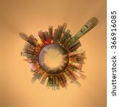 Small photo of Miniature Earth Planet with all important buildings and attractions of the city, Nature and city around, planet globe with environment elements around, house, cityscape and ocean, Hong Kong, China