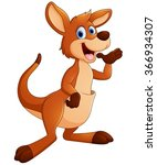 kangaroo cartoon waving | Shutterstock . vector #366934307