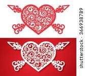 vintage heart with cross arrows ... | Shutterstock .eps vector #366938789