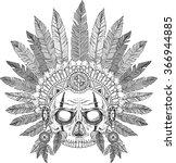 skull of native american in... | Shutterstock .eps vector #366944885
