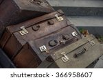 Stack Of Old Vintage Suitcases