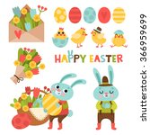 set with cute cartoon easter... | Shutterstock .eps vector #366959699