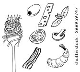 fork with spaghetti and... | Shutterstock .eps vector #366959747
