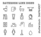 Bathroom Line Icons  Mono...