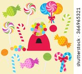 vector set of candy | Shutterstock .eps vector #366965321
