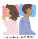 women and men are asleep on the ... | Shutterstock .eps vector #366968735