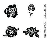 black silhouette of rose set | Shutterstock .eps vector #366968855