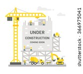 flat design construction site... | Shutterstock .eps vector #366975041