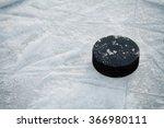 hockey puck on ice hockey rink  | Shutterstock . vector #366980111