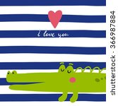 Vector Print With Cute Alligator