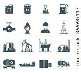 oil and gas industry icon set.... | Shutterstock .eps vector #366989117