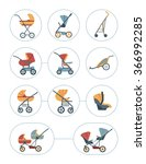 baby carriage icons set.... | Shutterstock .eps vector #366992285