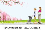 walking family with baby... | Shutterstock .eps vector #367005815