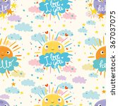 cute sun  moon and cloud says... | Shutterstock .eps vector #367037075