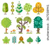 different trees isolated on a... | Shutterstock .eps vector #367038941