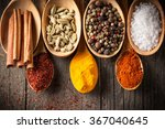 spices. spice in wooden spoon.... | Shutterstock . vector #367040645