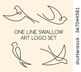 one line swallow art logo set | Shutterstock .eps vector #367044581
