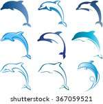 blue dolphins set for your... | Shutterstock .eps vector #367059521