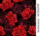Stock vector red roses on black background vector seamless pattern 367061999