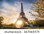 Eiffel Tower With Spring Tree...