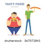 happy fat and thin men eating a ... | Shutterstock .eps vector #367072841
