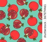 fresh pomegranates hand drawn... | Shutterstock .eps vector #367074461