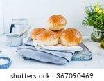sesame homemade buns over old... | Shutterstock . vector #367090469
